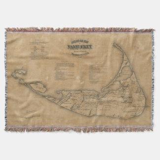 Vintage Map of Nantucket (1869) Throw Blanket