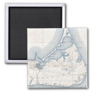 Vintage Map of Nantucket (1919) 2 Inch Square Magnet