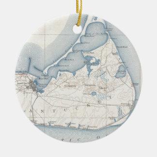 Vintage Map of Nantucket (1919) Ceramic Ornament