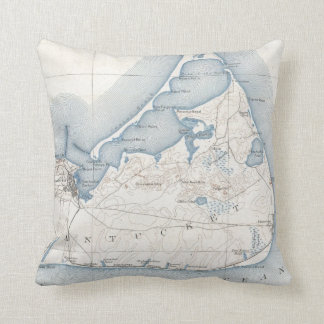 Vintage Map of Nantucket (1919) Throw Pillow
