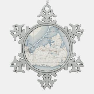 Vintage Map of Nantucket (1919) Snowflake Pewter Christmas Ornament