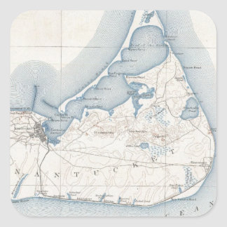 Vintage Map of Nantucket (1919) Square Sticker