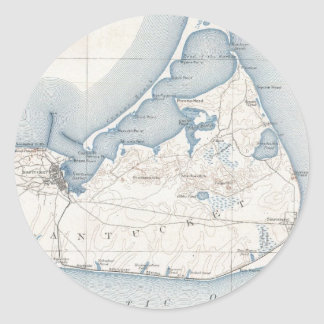 Vintage Map of Nantucket (1919) Classic Round Sticker
