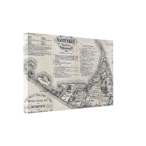 Vintage Map of Nantucket Canvas Prints