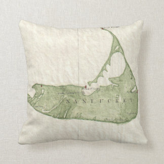 Vintage Map of Nantucket Massachusetts (1846) Throw Pillow