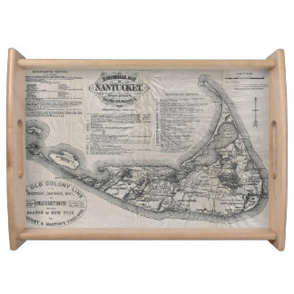 Vintage Map of Nantucket Serving Trays