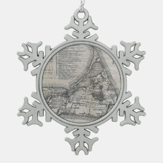 Vintage Map of Nantucket Snowflake Pewter Christmas Ornament