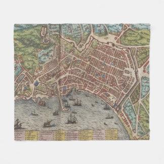Vintage Map of Naples Italy (1572) Fleece Blanket