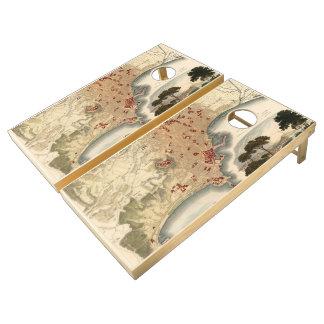 Vintage Map of Naples Italy (1835) Cornhole Set