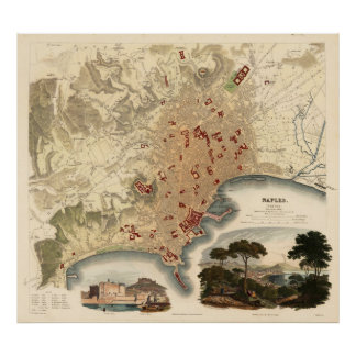 Vintage Map of Naples Italy (1835) Poster