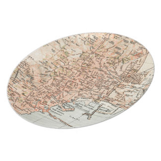Vintage Map of Naples Italy (1897) Dinner Plate