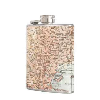Vintage Map of Naples Italy (1897) Hip Flask
