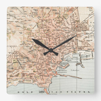Vintage Map of Naples Italy (1897) Square Wall Clock