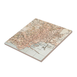 Vintage Map of Naples Italy (1897) Tile