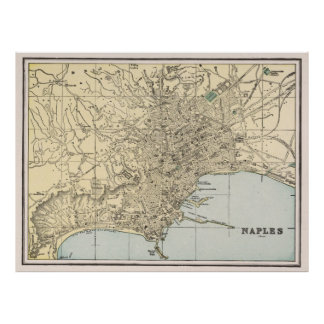 Vintage Map of Naples Italy (1901) Poster
