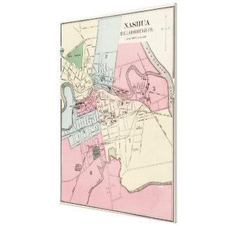 Vintage Map of Nashua NH (1877) Canvas Print