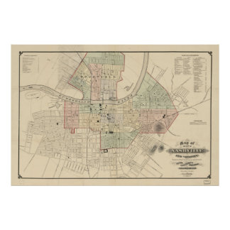 Vintage Map of Nashville Tennessee (1877) Poster