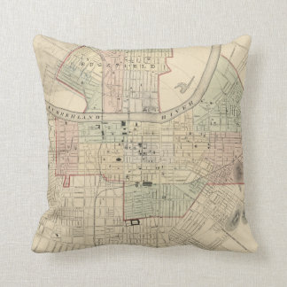 Vintage Map of Nashville Tennessee (1877) Throw Pillow