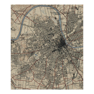 Vintage Map of Nashville Tennessee (1929) Poster