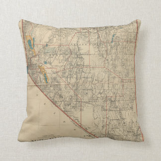 Vintage Map of Nevada (1894) Throw Pillow