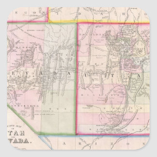 Vintage Map of Nevada and Utah (1866) Square Sticker