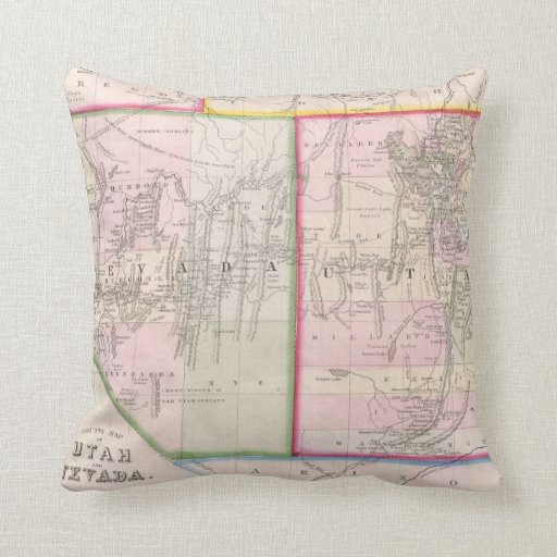 Vintage Map of Nevada and Utah (1866) Throw Pillow