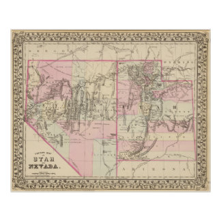 Vintage Map of Nevada and Utah (1880) Poster