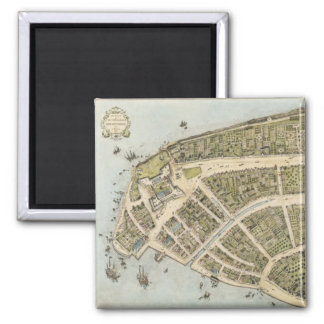 Vintage Map of New Amsterdam (1660) 2 Inch Square Magnet