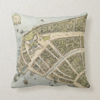 Vintage Map of New Amsterdam (1660) Throw Pillow