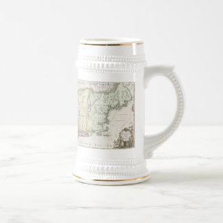 Vintage Map of New England (1716) Beer Stein