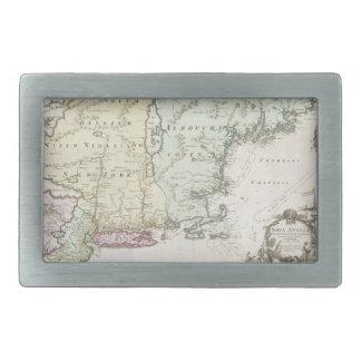 Vintage Map of New England (1716) Rectangular Belt Buckles