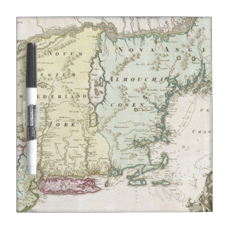 Vintage Map of New England (1716) Dry-Erase Whiteboard