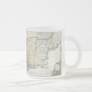 Vintage Map of New England (1716) Frosted Glass Coffee Mug