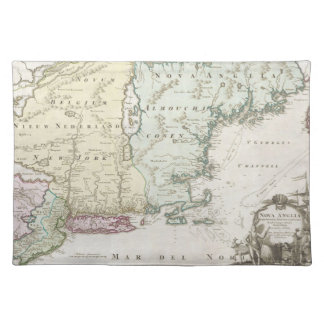 Vintage Map of New England (1716) Placemats