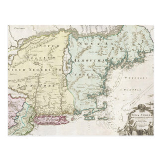 Vintage Map of New England (1716) Postcard