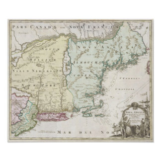 Vintage Map of New England (1716) Poster