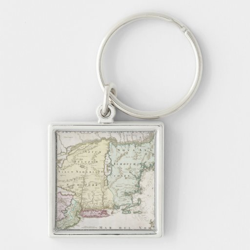 Vintage Map of New England (1716) Silver-Colored Square Keychain