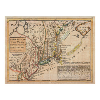 Vintage Map of New England (1729) Poster