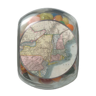 Vintage Map of New England (1821) Jelly Belly Candy Jars