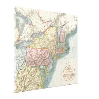 Vintage Map of New England (1821) Canvas Print
