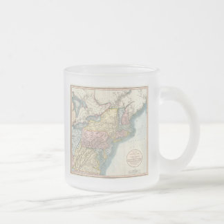 Vintage Map of New England (1821) Frosted Glass Coffee Mug