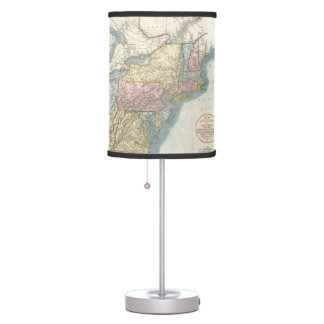 Vintage Map of New England (1821) Desk Lamps