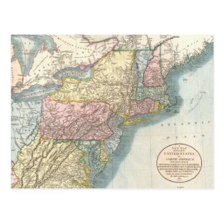 Vintage Map of New England (1821) Postcard