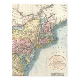 Vintage Map of New England (1821) Postcard