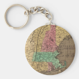 Vintage Map of New England (1836) Basic Round Button Keychain