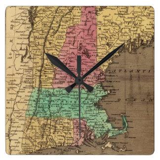 Vintage Map of New England (1836) Square Wallclocks