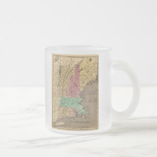 Vintage Map of New England (1836) Frosted Glass Coffee Mug