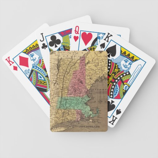 Vintage Map of New England (1836) Bicycle Card Deck