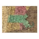 Vintage Map of New England (1836) Postcard