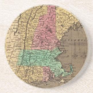 Vintage Map of New England (1836) Sandstone Coaster
